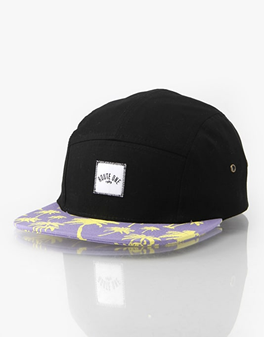 Route One Palm Peak 5 Panel Cap - Black/Purple Palms