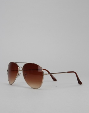 Route One Aviator Sunglasses - Gold/Brown