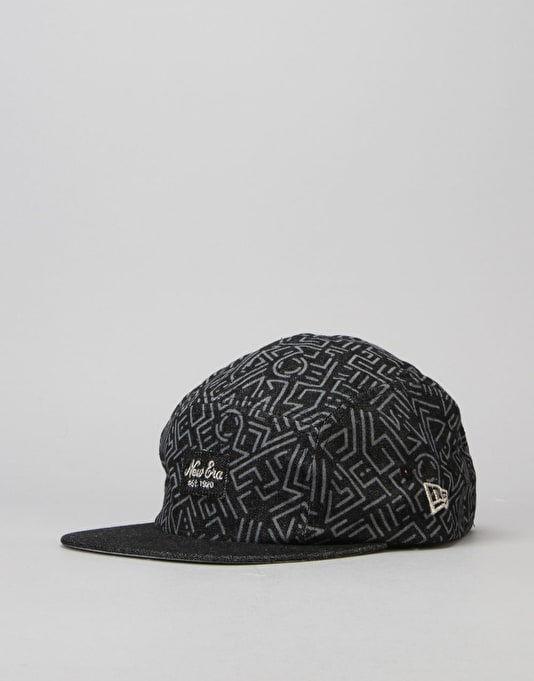 New Era Denim Print Camper 5 Panel Cap - Black/Silver