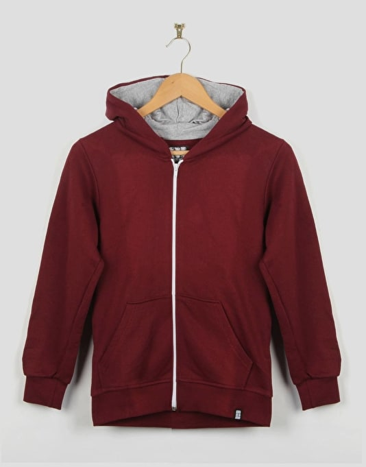 Route One Boys Basic Zip Hoodie - Burgundy