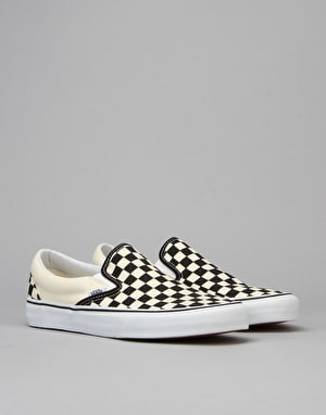Vans Classic Slip On Skate Shoes - Black/White/Checker White