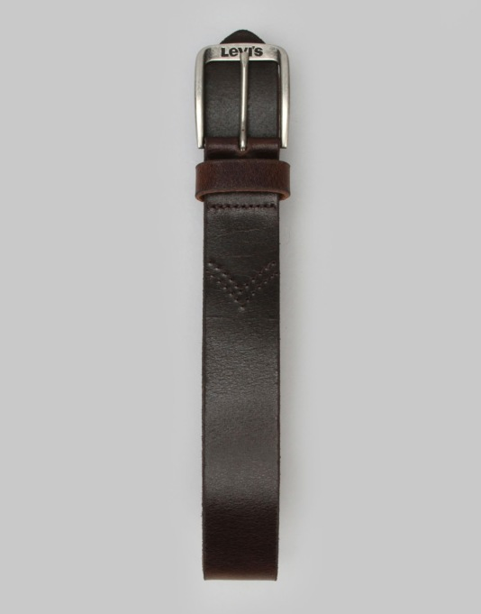 Levis Alturas Leather Belt - Dark Brown