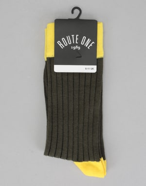 Route One Derby Socks - Brown/Yellow