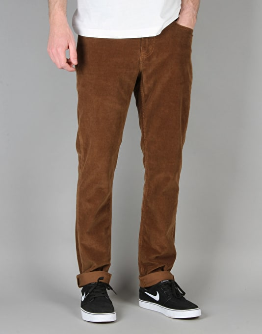 route one slim fit cords chocolate skate chinos and trousers