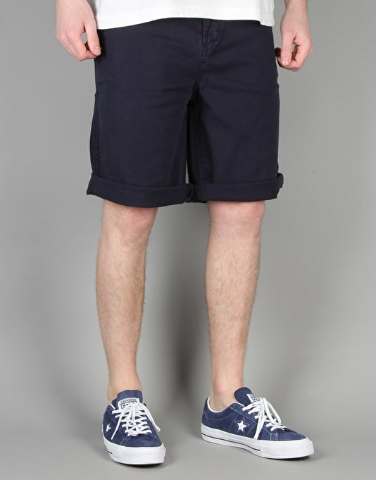 Route One Classic Fit Chino Shorts - Washed Navy