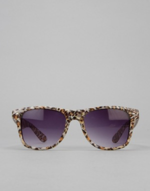 Route One Animal Wayfarer Sunglasses - White/Leopard 2