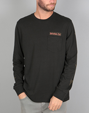 Brixton Maron L/S Pocket T-Shirt - Washed Black