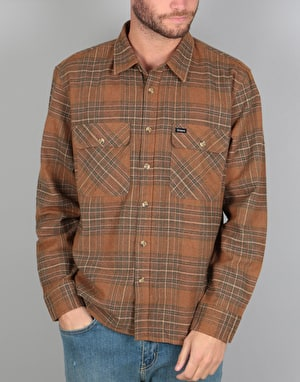 Brixton Archie L/S Flannel Shirt - Copper/Shale Brown
