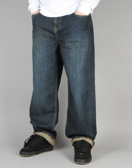 Route One Baggy Denim Jeans - Washed Indigo