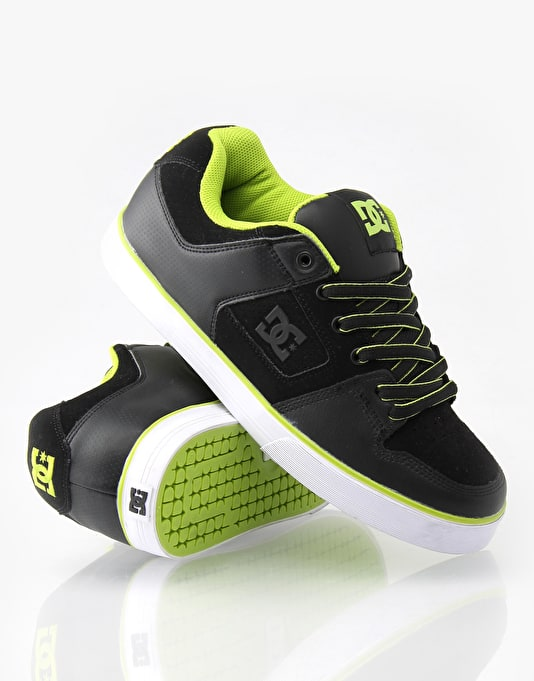 DC Pure Slim Skate Shoes - Black Soft Lime