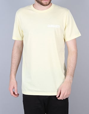 Carhartt S/S College Script Pastels - Soft Yellow/White