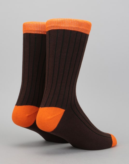 Route One Derby Socks - Brown/Orange