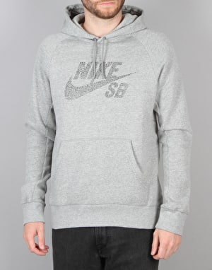 Nike SB Icon Dots Pullover Hoodie - Dk Grey Heather/Black