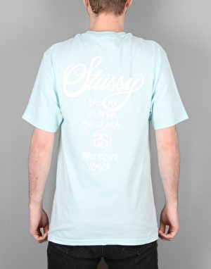 Stüssy World Tour T-Shirt- Light Blue