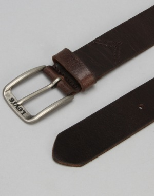 Levis Classic Top Logo Buckle Leather Belt - Dark Brown