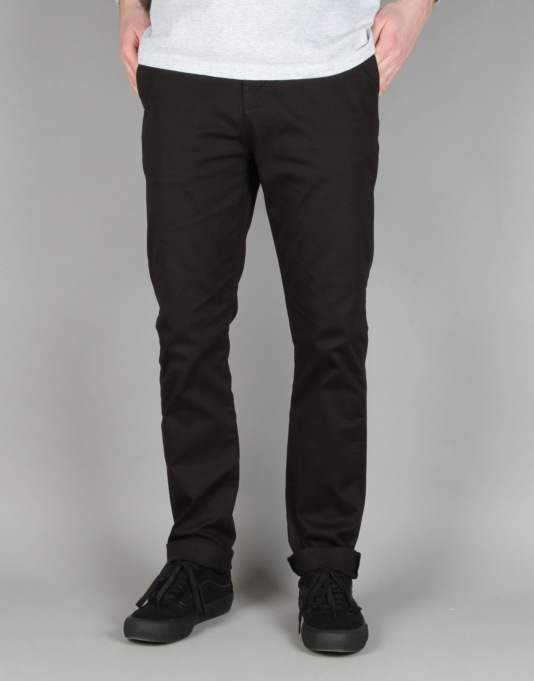 Route One Slim Fit Chinos - Black