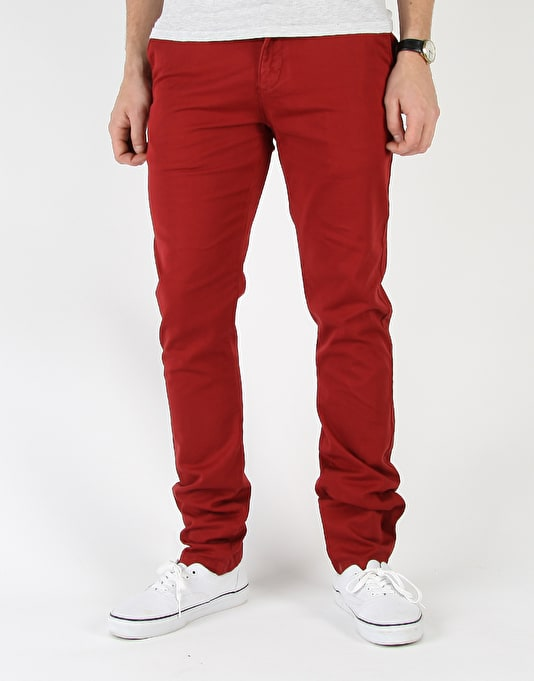 Route One Slim Fit Chinos - Burgundy