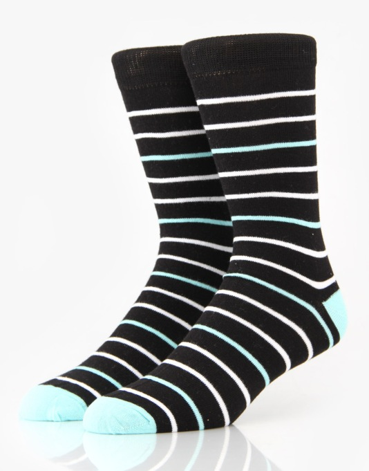 Route One Narrow Stripe Socks - Black/Blue