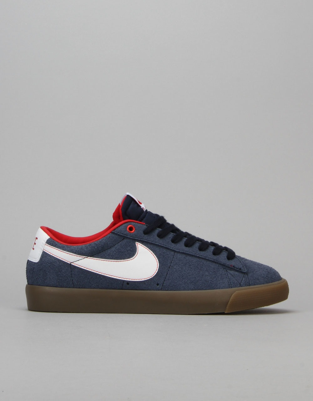 368442498a0d Nike SB Blazer Low GT Skate Shoes - Obsidian White-University Red-Gum
