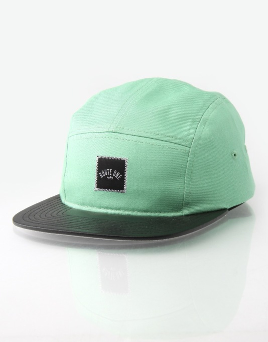 Route One Shine 5 Panel Cap - Green/Black