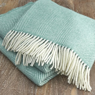 Cosy Wool Herringbone Throw