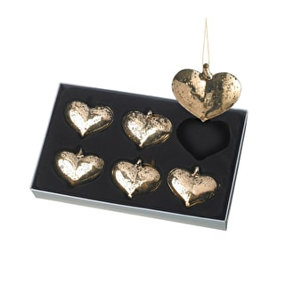 Antiqued Gold Heart Decorations