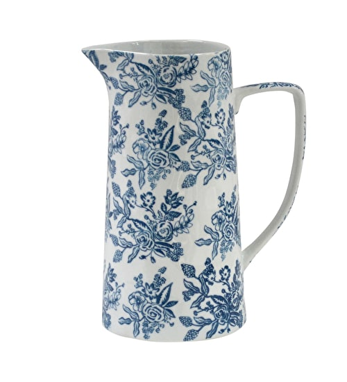 Blue and White Floral Jug