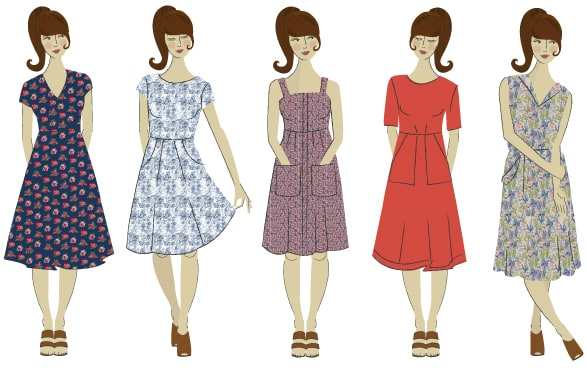Seasalt illustration of lots of different styles of dresses - find the perfect style for you