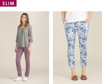 Shop women's slim trousers and jeans