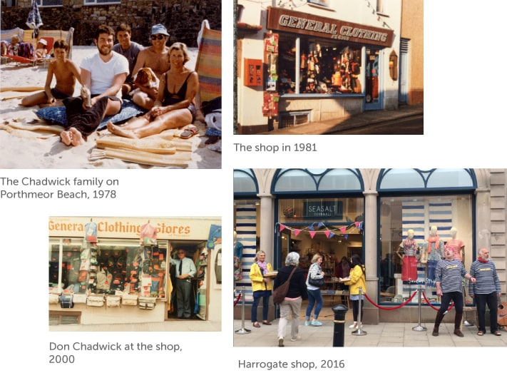 Photo montage of the Chadwick family and Seasalt shops