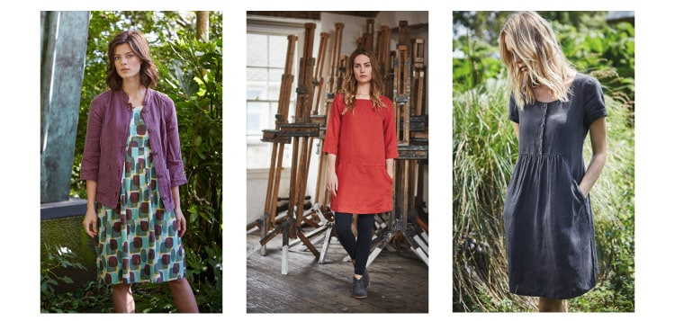 Shop women's linen clothing - dresses, trousers, shirts, skirts and scarves
