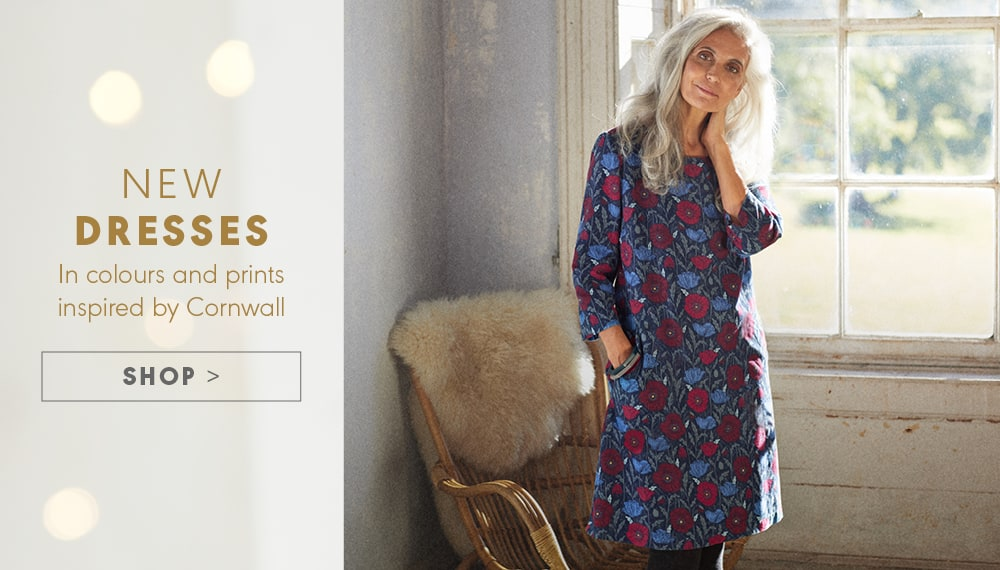 New dresses. In colours and prints inspired by Cornwall. SHOP