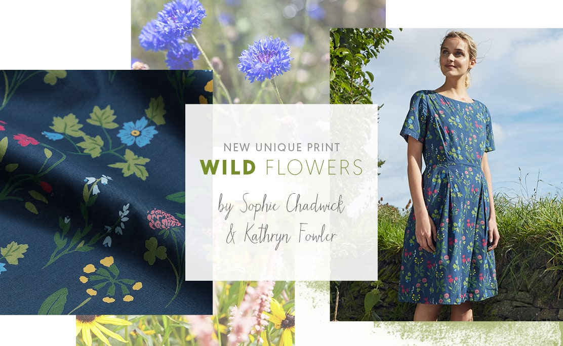 New Unique Print, Wild Flowers. Worn by blonde girl next to a cornish hedgerow