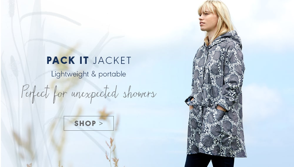 PACK IT JACKET, Lightweight & portable. Perfect for unexpected showers