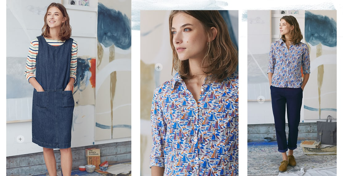 3 women posing in the studio one wearing a denim pinafore with a stripe top underneath & a shirt with a boat pattern all over.
