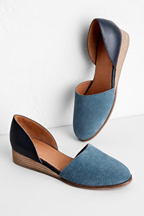 Helena Shoe, Leather and Suede Wedges - Seasalt