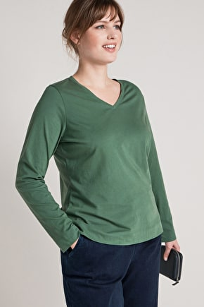 Essential Cotton V-Neck Top - Seasalt