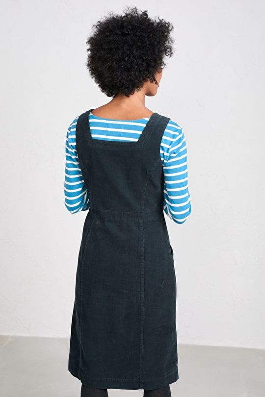 High Deck Pinafore Dress, Knee Length Corduroy Dress