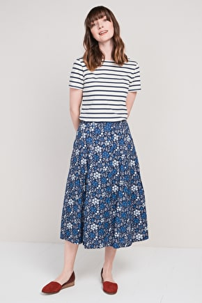 Sea Mist, Printed cotton midi skirt - Seasalt