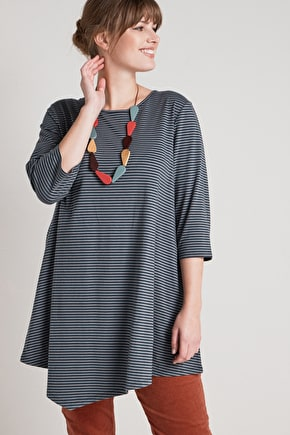 Elegant Asymmetric Tunic Top. In Organic Cotton - Seasalt