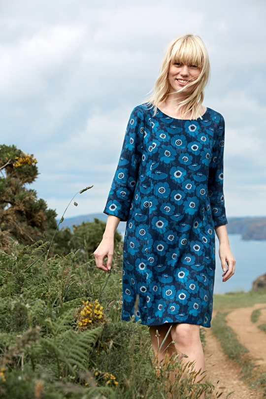 Elegant Shift Dress. In Cotton Twill & Unique Seasalt Prints