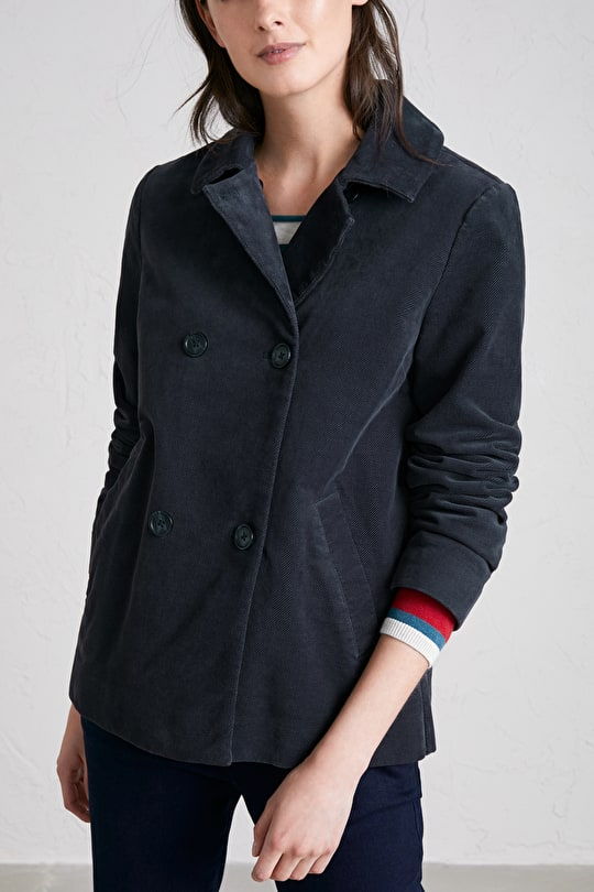 Ode Jacket, A-line Soft Cotton Twill Moleskin Coat