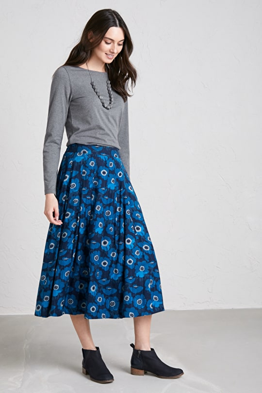 Moving Image Skirt, Lightweight Cotton Viscose Twill Skirt