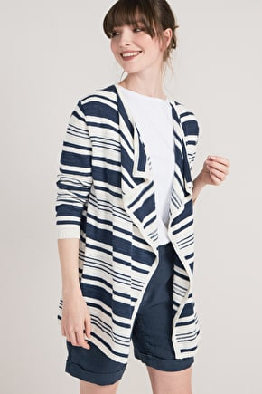 Fulmar Cardigan, Nautical Striped Cotton Linen Cardigan - Seasalt
