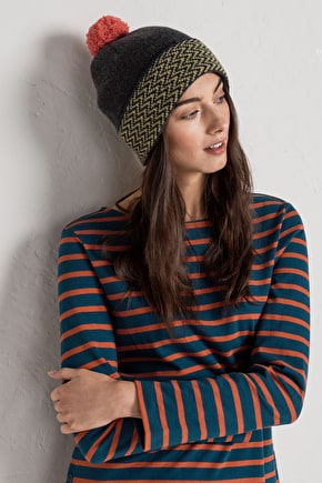 Stylish Bobble Hat In Merino Blend & Scandi Knit - Seasalt