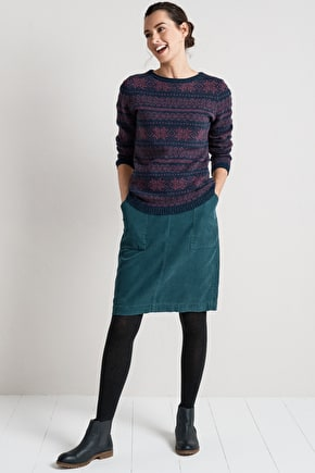 Flattering A-Line Skirt. In Soft Cotton Cord - Seasalt