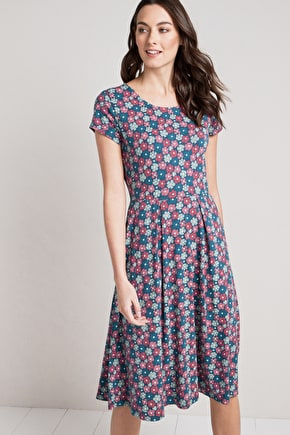Riveria Dress , Organic Cotton Jersey Midi Skirt Dress - Seasalt
