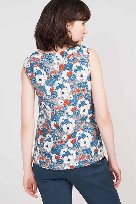 Phormium Top, Sleeveless Floral Linen Shell V-Neck - Seasalt