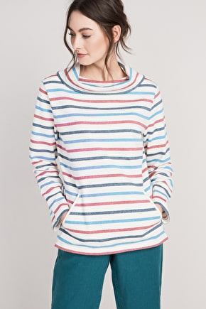 Boslowick Sweatshirt - Striped Organic Cotton jumper - Seasalt