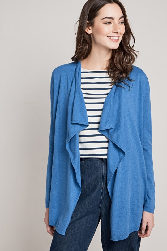 Oyster fine knitted waterfall cardigan - Seasalt